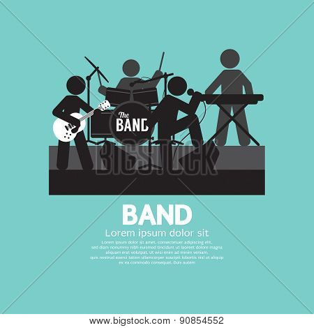 Band Of Musician Black Symbol Vector Illustration. EPS 10 poster