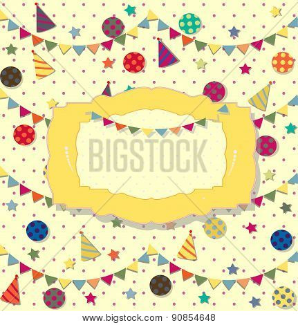 birthday celebration poster. Ideal for club card, postcard or party invitation backgrounds.