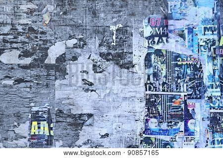 Old Billboard With Aged Torn Posters Background