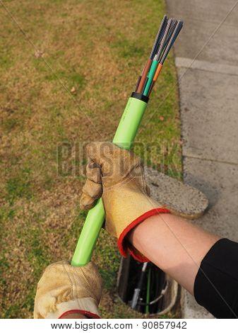 Green fiber optic cable