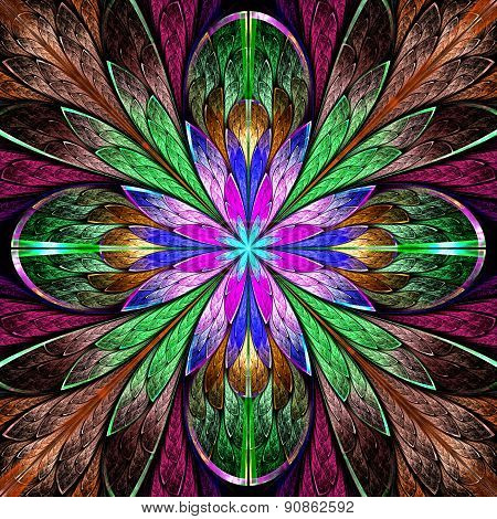 Multicolored Symmetrical Fractal Flower In Stained-glass Window Style. Computer Generated Graphics.