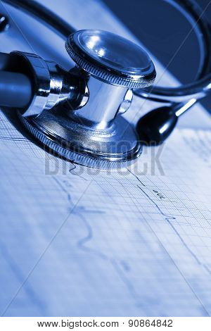 Ecg And Stethoscope Concepts Of Medical Diagnostics