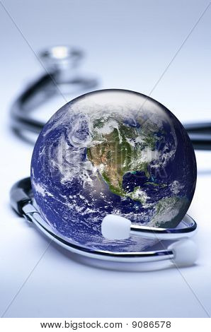 Globe And Stethoscope Concept