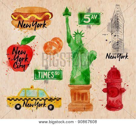 New York symbols crumpled paper