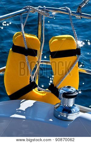 Life Buoy And Capstan On Sailing Yacht