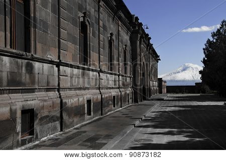 Building On Etchmiadzin Cathedral Territory, Background Mountain Ararat, Masis, Armenia