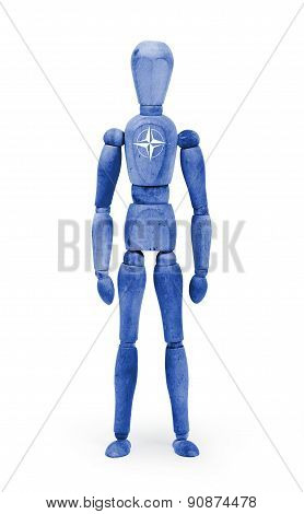 Wood figure mannequin with flag bodypaint on white background - NATO poster