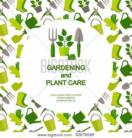 Flat design banner for gardening and plant care.