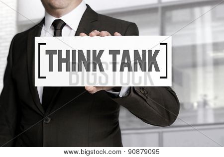 Think Tank Sign Is Held By Businessman