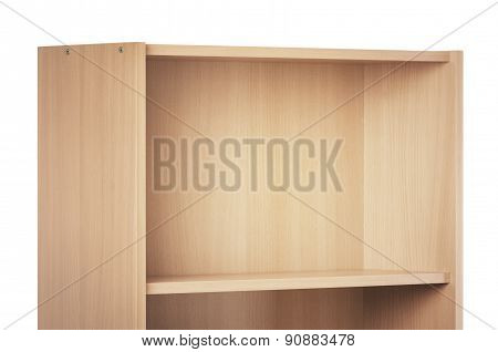 Empty brown bookcase for books and other items to keep, made of wooden planks