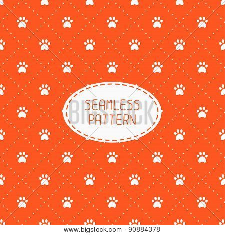 Seamless pattern with animal footprints, cat, dog. Wrapping paper. Paper for scrapbook. Tiling. Vect
