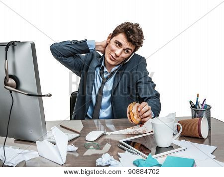 Businessman Scratches His Head At Working Place, Sloth And Laziness Concept