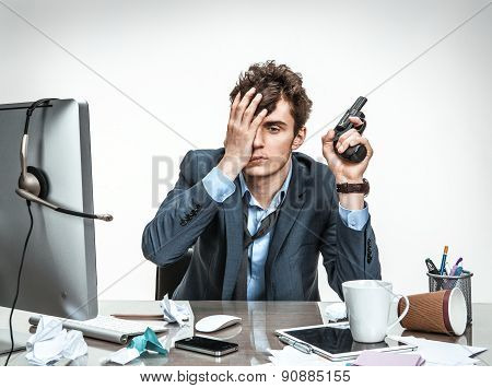 Clerk With Gun Wants To Commit Suicide / Modern Office Man At Working Place, Depression And Crisis C