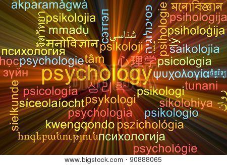 Background concept wordcloud multilanguage international many language illustration of psychology glowing light poster