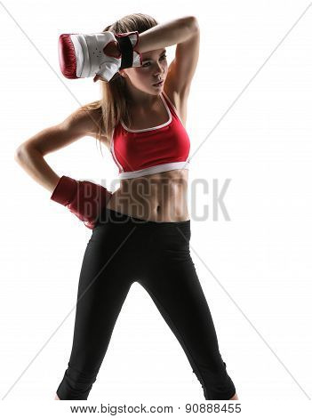 Tired Brunette With Boxing Gloves Having Rest After Workout / Photo Set Of Sporty Muscular Female Br
