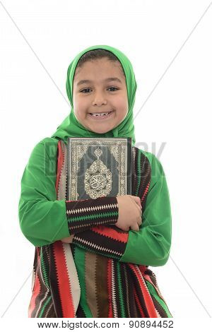 Little Young Muslim Girl Loves Holy Quran