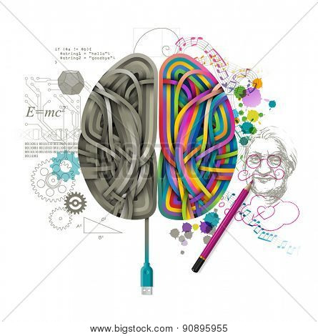 Left and right brain, concept of consciousness, eps10 vector