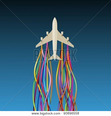 Airplane with colorful ribbons, eps10 vector