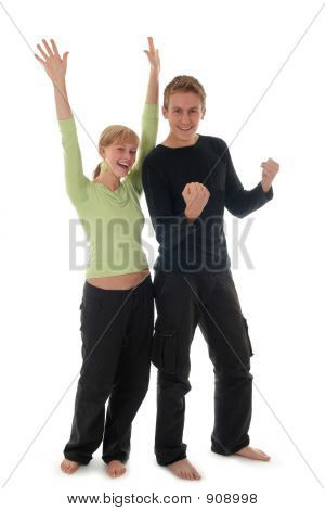Couple Cheering