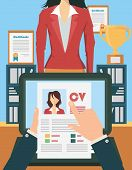 Job recruitment concept with business cv resume poster