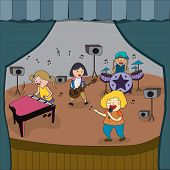 Cartoon children band is playing concert on stage in school fair create by vector poster