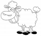 Outlined vector illustration of a smiley sheep poster