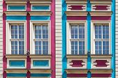 Facade of ancient tenement in the Old Town in Wroclaw, Poland. poster
