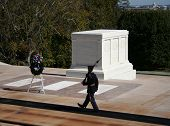 tomb of the unknown soldier arlington cemetery with honour guard marching poster