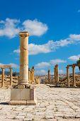 Ruins at Jerash Jordan center of the Forum Cardo poster
