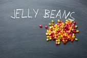 the jelly beans on chalkboard poster