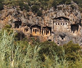 Rock tombs on the cliffs of Kaunos