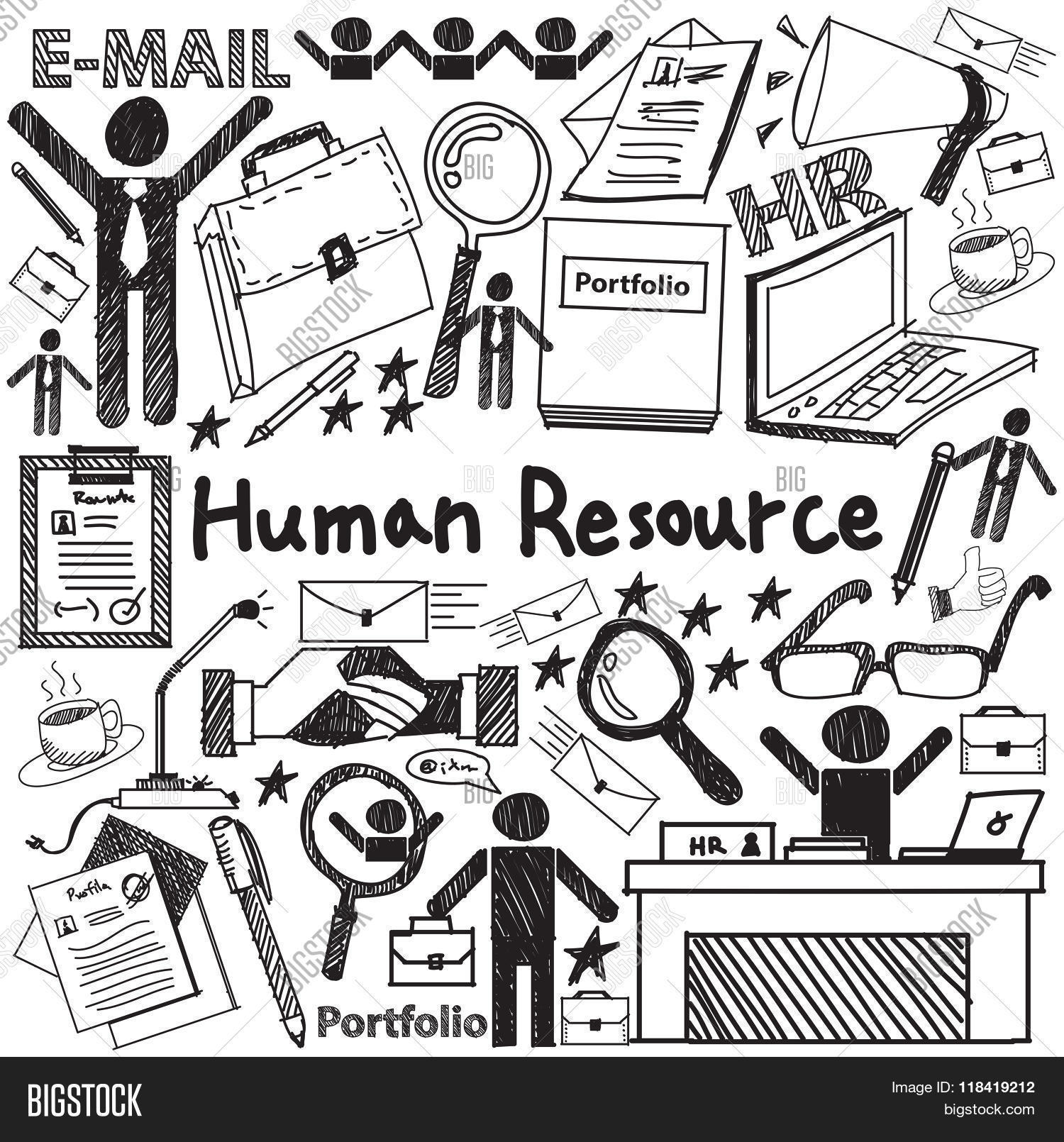 human resource vector photo free trial bigstock Facility Maintenance Supervisor Resume Samples human resource management in anization handwriting doodle icon sketch sign and symbol in white is