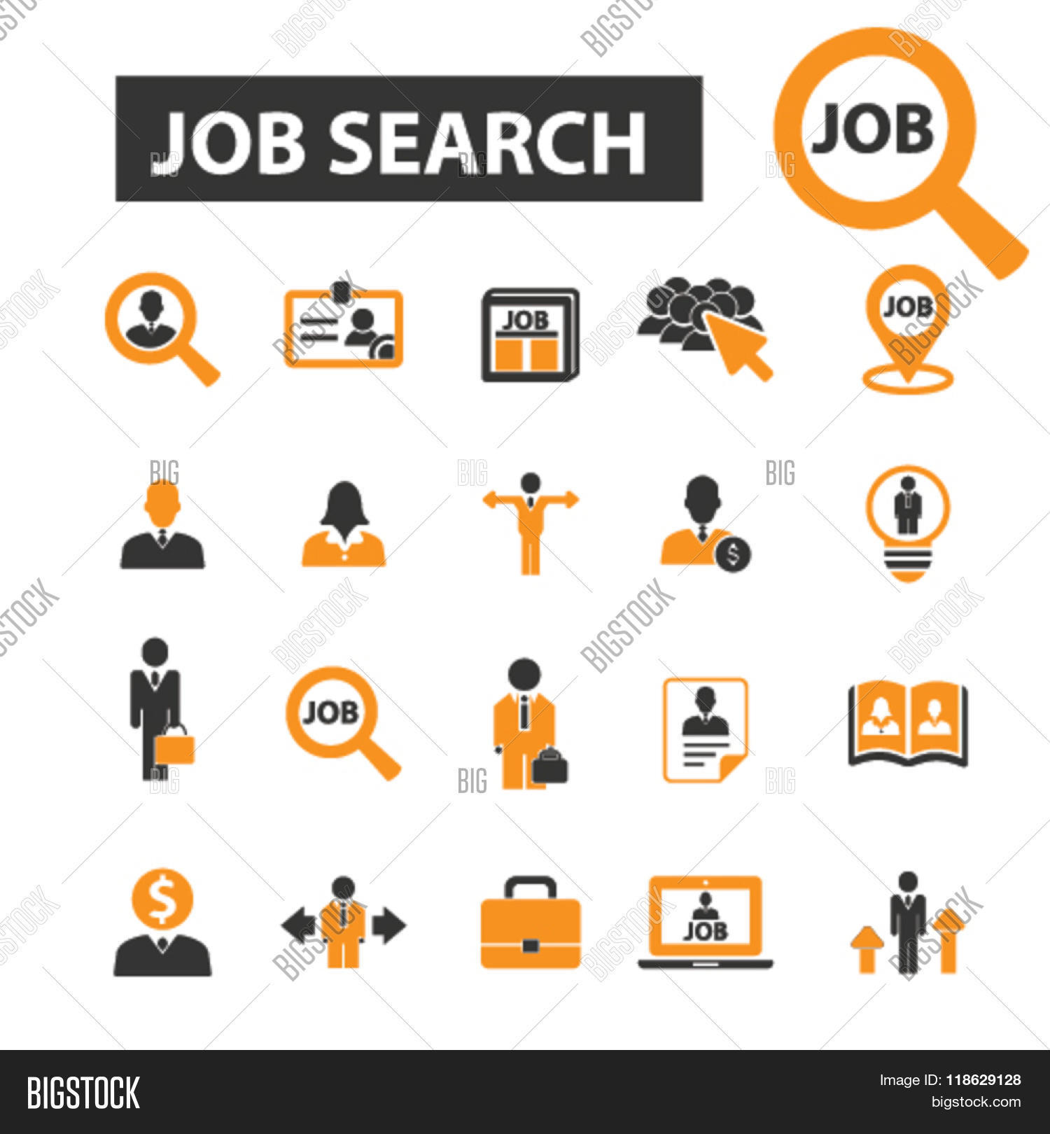 job search icons  job vector  u0026 photo  free trial