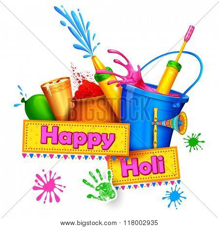 illustration of splash with Holi object coming out from bucket
