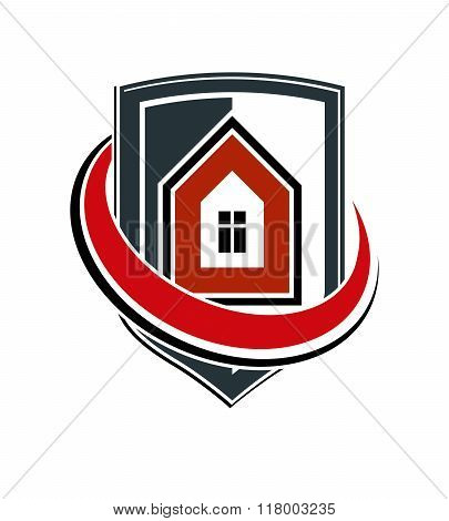 Safety Idea, Abstract Vector Heraldic Symbol With Classic House. Real Estate Brand Design Element, C