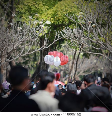 Red And White Heart Balloon With Poeple Community