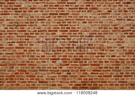 Brick Wall Horizontal Background With Red, Orange And Brown Bricks