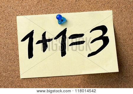 1 Plus 1 Equal 3 - Plus One Free - - Adhesive Label Pinned On Bulletin Board