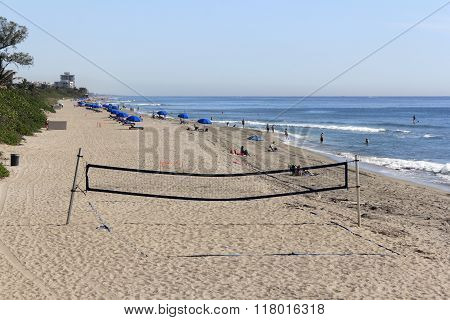 Volley Ball Net And Boca Raton Beach