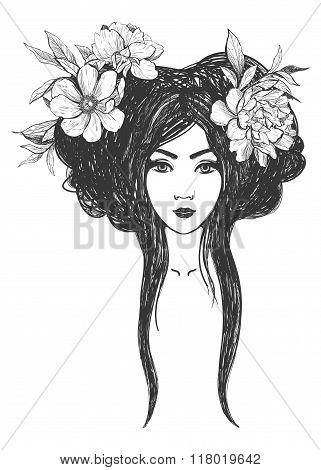 Woman with flowers. Tattoo art, coloring books.