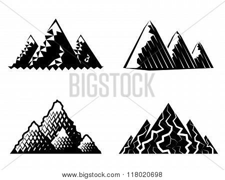 Icon Set Of Mountains In Black-and-white Colors