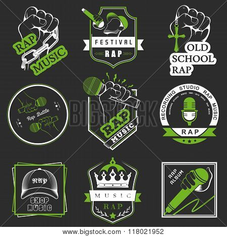 Set of vector logos badges and stickers Hip Hop and Rap music. Collection of emblems rap battle rap club and rap festival. Rap logos in style of Digital Art