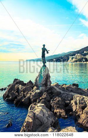Opatija In Croatia. Sculpture Of The Woman With The Sea.