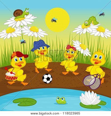 ducklings resting on lake - vector illustration, eps