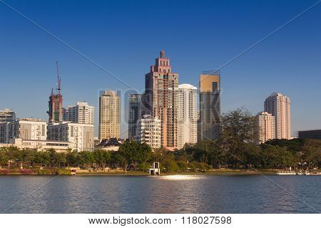 Bangkok, Thailand - February 12, 2016 : The Lake In Benchakitti Park Bangkok City Thailand