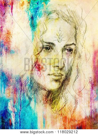 Drawing portrait Young woman with ornament on face, color painting on abstract background, computer