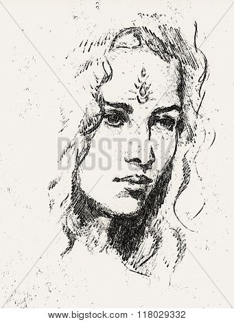 Drawing portrait Young woman with ornament on face, computer collage. Black and white.