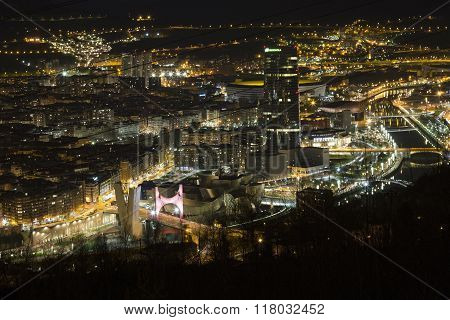 BILBAO, SPAIN, JANUARY 17, 2016: View of the illuminated city of Bilbao.