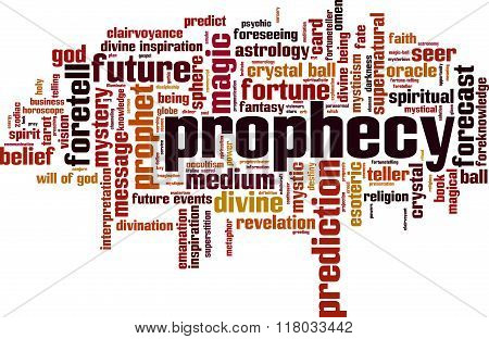 Prophecy word cloud concept. Vector illustration on white