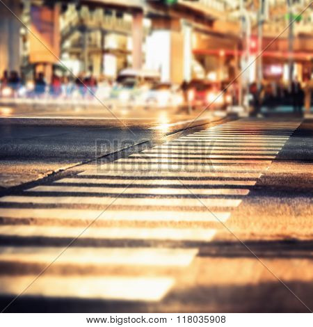 Night View Of Modern City Crossroad. Abstract Cityscape